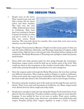 Grade 3 Common Core Reading: Informational Text about the Oregon Trail