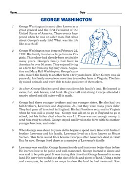 Grade 3 Common Core Reading: Informational Text on George Washington's Childhood