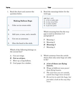 Grade 3 Common Core Reading: Informational Text on Making a Homemade Bug