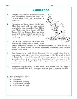 Grade 3 Common Core Reading: Kangaroos