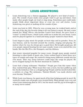Grade 3 Common Core Reading: Louis Armstrong