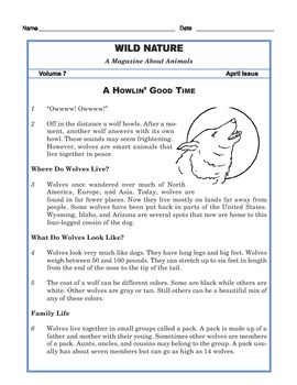 Grade 3 Common Core Reading: Nature Magazine Article about Wolves
