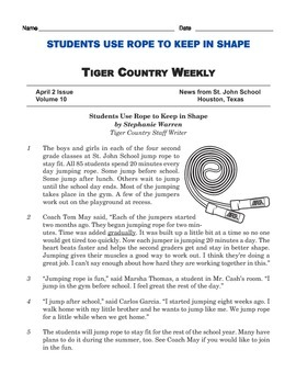 Grade 3 Common Core Reading: School Newspaper Article about Jumping Rope