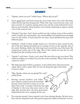 Grade 3 Common Core Reading: Sparky and Jason's Adventure in the Woods