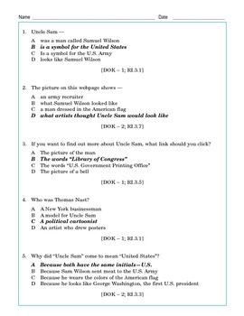 Grade 3 Common Core Reading: Symbols of U.S. Government: Uncle Sam