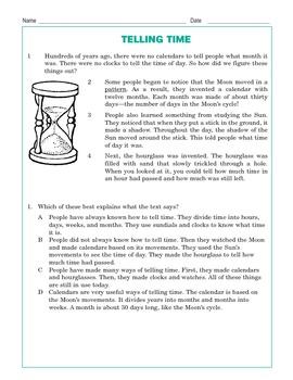 Grade 3 Common Core Reading: Telling Time