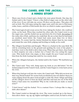 Grade 3 Common Core Reading: The Camel and the Jackal: A Hindu Story