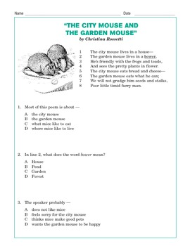 "Grade 3 Common Core Reading: ""The City Mouse and the Garden Mouse"""