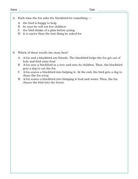 Grade 3 Common Core Reading: The Fox and the Blackbird