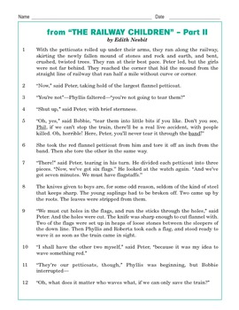"Grade 3 Common Core Reading: ""The Railway Children"" part 2"
