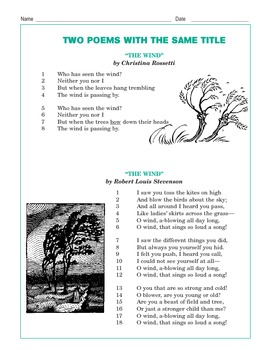 "Grade 3 Common Core Reading: Two Poems with the Same Title -- ""The Wind"""
