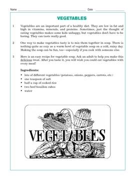 Grade 3 Common Core Reading: Vegetables