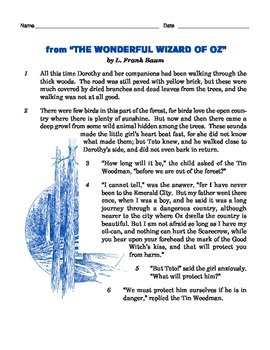 Grade 3 Common Core Reading: Wizard of Oz Excerpt
