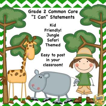 """Grade 3 - Common Core Standards - """"I Can"""" Kid Friendly - Safari Theme"""