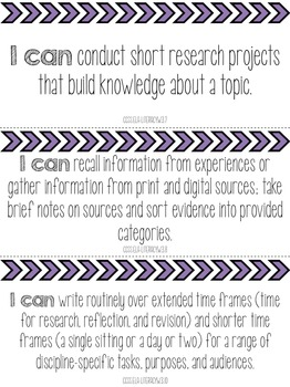 """Grade 3 Common Core State Standards """"I Can"""" Statements"""