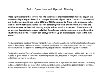 Grade 3 Common Core Tasks for Operations and Algebraic Thinking