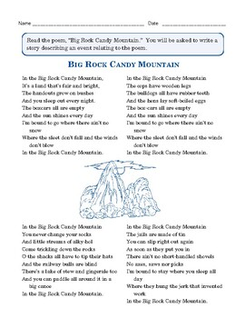 """Grade 3 Common Core Writing Prompt: Poem — """"Big Rock Candy Mountain"""""""