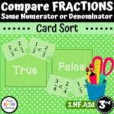 Grade 3 - Compare Fractions - T/F - Card Sort (CCSS 3.NF.A3d) (TEKS 3h)