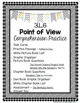 Grade 3 Comprehension -3.L.6- Point of View- White