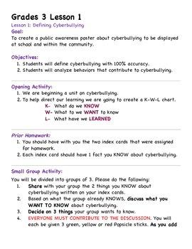 Grade 3 Cyberbullying Unit Lesson 1