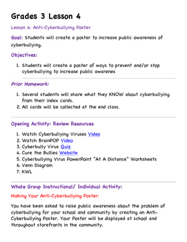 Grade 3 Cyberbullying Unit Lesson 4