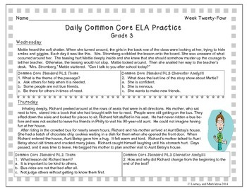 Grade 3 Daily Common Core Reading Practice Week 24 {LMI}