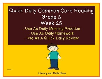 Grade 3 Daily Common Core Reading Practice Week 25 {LMI}