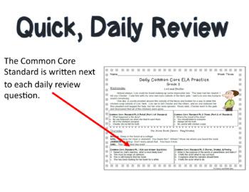Grade 3 Daily Common Core Reading Practice Weeks 1-20 {LMI}