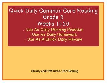 Grade 3 Daily Common Core Reading Practice Weeks 11-20 {LMI}