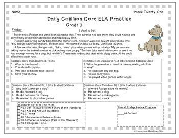 Grade 3 Daily Common Core Reading Practice Weeks 21-25 {LMI}