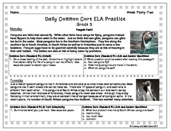 Grade 3 Daily Common Core Reading Practice Weeks 31-35 {LMI}