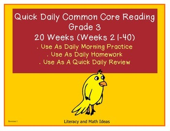 Grade 3 Daily Common Core Reading Weeks 21-40 {LMI}