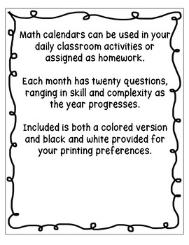 Grade 3 Daily Math Calendar Questions
