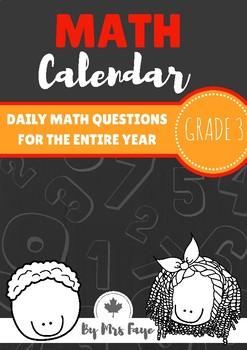 Grade 3 Daily Math Calendar Questions - Canadian Version