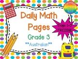 Grade 3 Daily Math Days 1-5 Freebie Australian