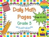 Grade 3 Daily Math Days 61-80 Australian