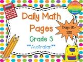 Grade 3 Daily Math Days 81-100 Australian