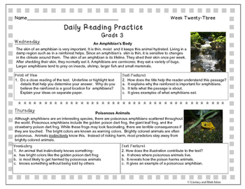 Grade 3 Daily Reading Practice (Weeks 21-30)
