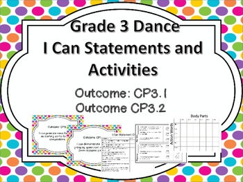 Dance  Grade 3  I Can Statements and Lesson Plans