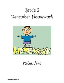 Grade 3 December Homework Calendar