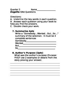"""Grade 3 """"Dogzilla"""" CC questions"""