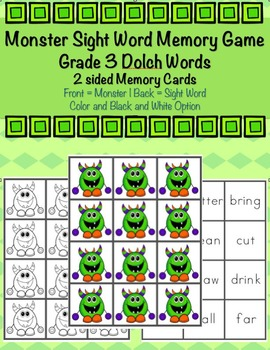 Grade 3 Dolch Sight Word Monster Memory Game