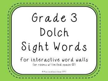 Grade 3 Dolch Sight Words {Green} - for word walls and games