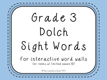 Grade 3 Dolch Sight Words {Pale Blue} - for word walls and games