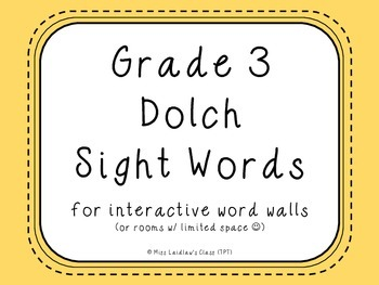 Grade 3 Dolch Sight Words {Pale Yellow} - for word walls a
