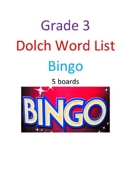 Grade 3 Dolch Word Bingo - 5 Boards with cards