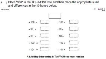 Grade 3: MENTAL MATH (in NBT Domain) sets of 6, 10, 15 or 20 problems per skill