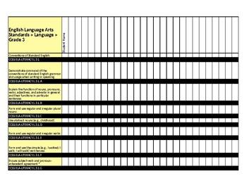 Grade 3 ELA CCLS Student Grades Tracker EDITABLE (EXCEL)