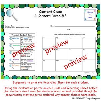 Grade 3 ELA Context Clues 4 Corners Game