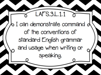 "Grade 3 ELA Florida Standards Posters/ ""I Can"" Statements (Black&White Chevron)"